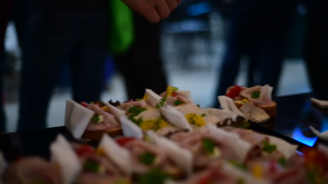 Open sandwich at the party buffet table video