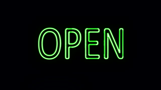 Open Sign in Neon Style Turning On Open Sign in Neon Style Turning On neon colored stock videos & royalty-free footage