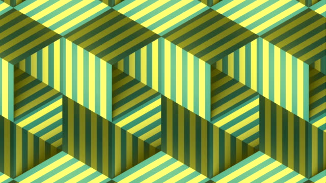 Open striped boxes digital seamless loop animation. Design element. Optical illusion, psychedelic lines art background. 3d rendering. HD