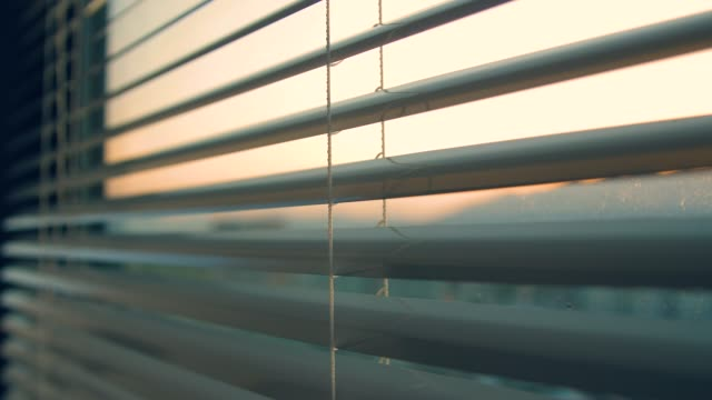 open window blinds in the morning - store filmów i materiałów b-roll