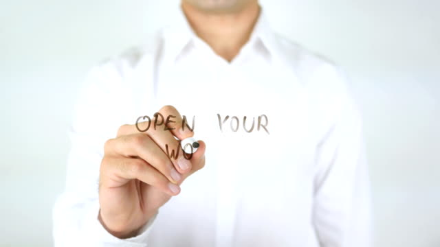 Open Your World, Man Writing on Glass video