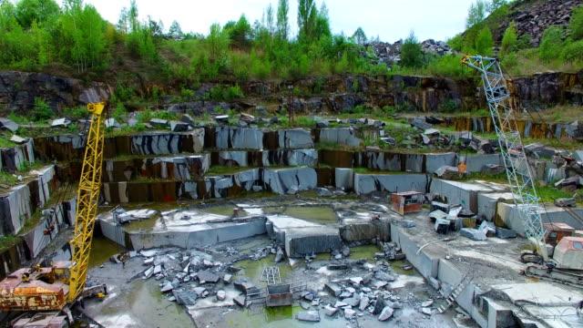 Opencast mining granite. Aerial survey video