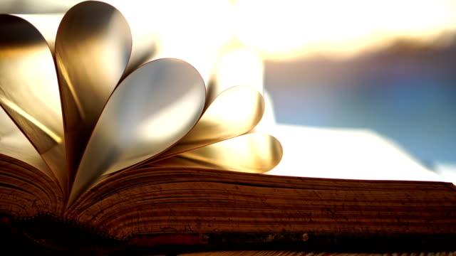 stockvideo's en b-roll-footage met geopende boek met pagina's in de vorm van een hart close-up op zonsondergang achtergrond - literatuur