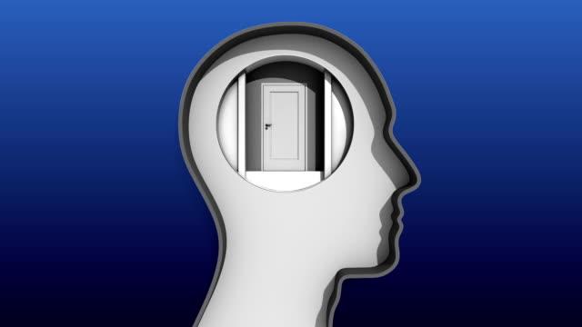 Opened door in Human head and stairway to brain video