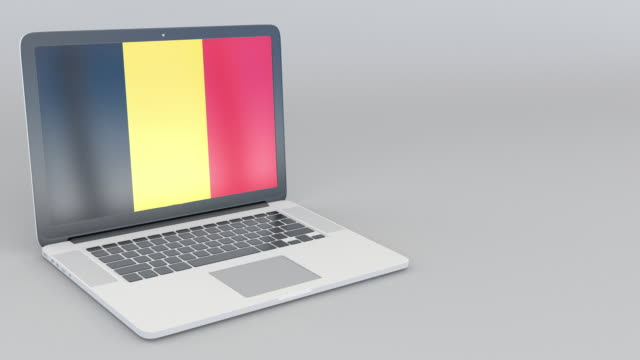 Opening and closing laptop with flag of Belgium the screen