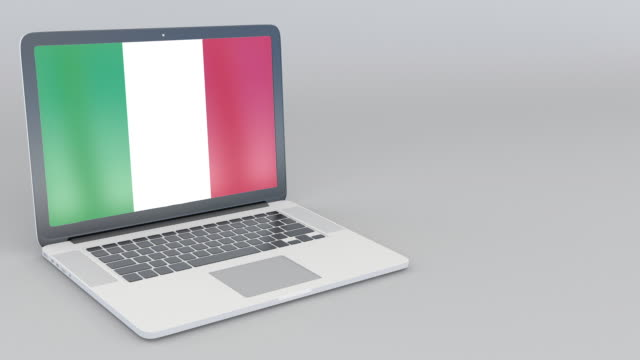 Opening and closing laptop with flag of Italy on the screen