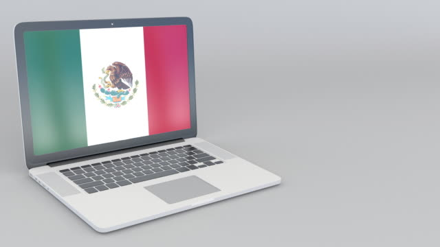 Opening and closing laptop with flag of Mexico on the screen