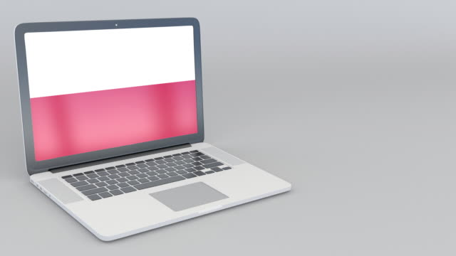 Opening and closing laptop with flag of Poland on the screen