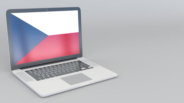 Opening and closing laptop with flag of the Czech Republic on the screen