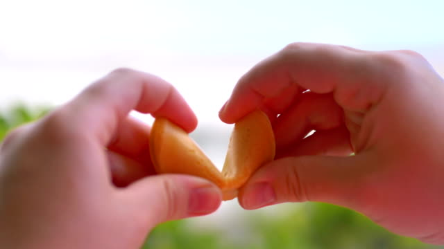 Opening chinese fortune cookie with a card inside in 4k slow motion 60fps Opening chinese fortune cookie with a card inside in 4k slow motion 60fps luck stock videos & royalty-free footage