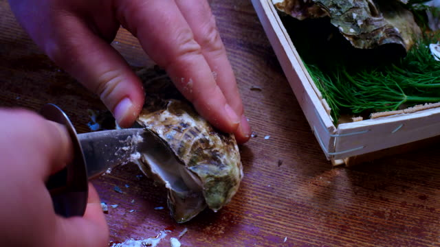 Opening Fresh Oysters with a Oyster Knife video