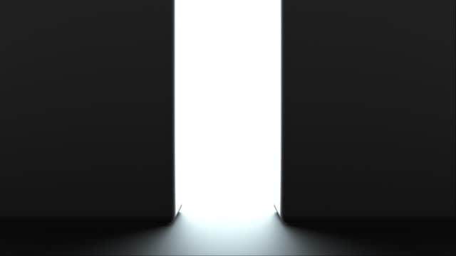 Opening gates with shine, computer generated. 3d rendering of automatic sliding doors, abstract background Opening gates with shine, computer generated. 3d rendering of automatic sliding doors. Abstract background chance stock videos & royalty-free footage