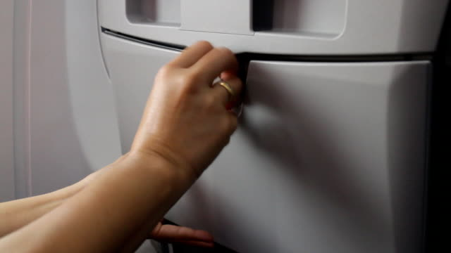 Opening individual cabin seat table Opening individual cabin seat table, stock video tray stock videos & royalty-free footage