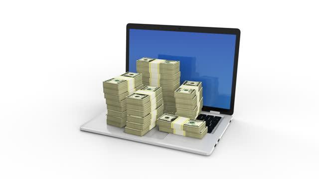 öppnar bärbar dator med poppande buntar av dollar i 100 dollar räkningar på en bärbar dator tangentbord. tjäna med internet med online-företag eller nätverksmarknadsföring. tjäna pengar med internet. - e handel bildbanksvideor och videomaterial från bakom kulisserna