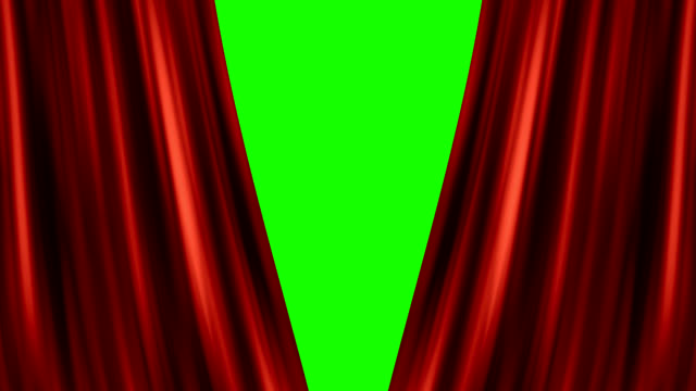 Opening red curtain Opening red curtain with green screen presentation stock videos & royalty-free footage