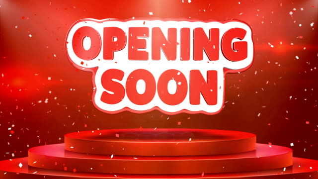Opening Soon  Text Animation Stage Podium Confetti Loop Animation
