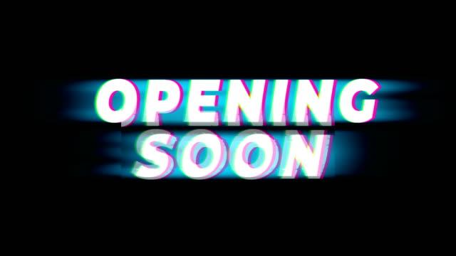 vídeos y material grabado en eventos de stock de apertura pronto texto vintage glitch efecto promoción. - gran inauguración