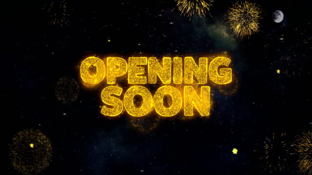 Opening Soon Text Wishes Reveal From Firework Particles Greeting card.