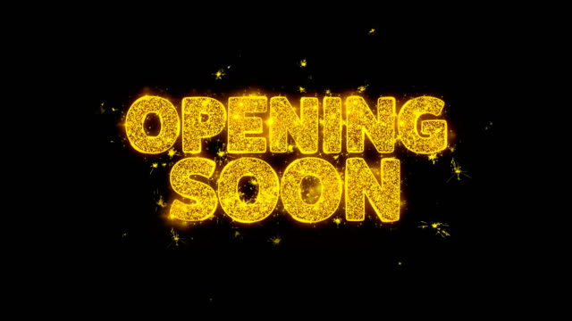 opening soon typography written with golden particles sparks fireworks - inauguration filmów i materiałów b-roll