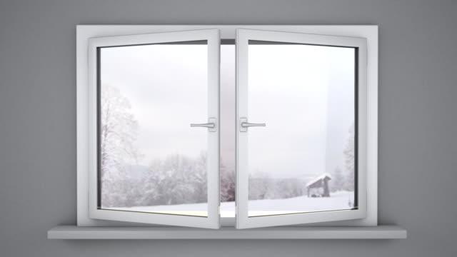 vídeos de stock e filmes b-roll de abrir janelas no inverno - open window