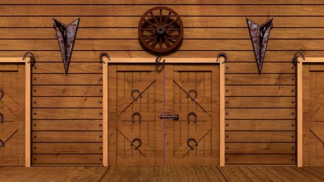 Opening wooden barn on chromakey