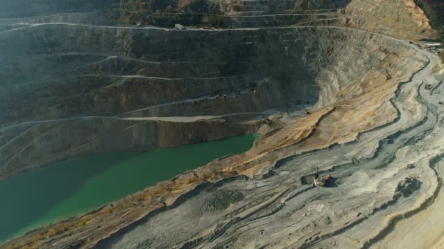 Open-pit mine Aerial view of extreme terrain and green lake in open-pit mine in Majdanpek, Serbia. copper stock videos & royalty-free footage
