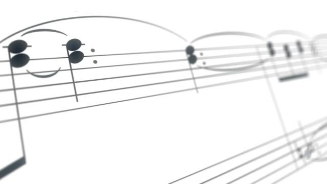 vídeos de stock e filmes b-roll de opera tune music composition sheet with black keys on white background - piano