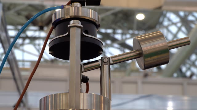 Operation of the linear pump made of stainless steel Operation of the linear pump made of stainless steel pipe connector stock videos & royalty-free footage