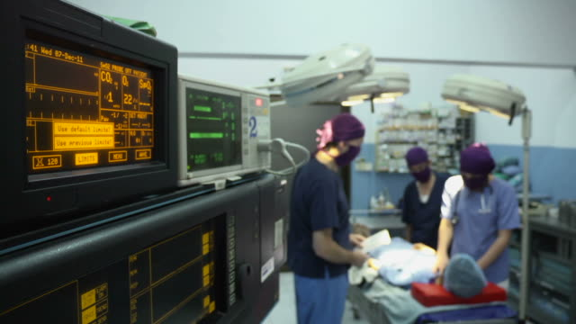 Operation room in clinic with medical staff during surgery video