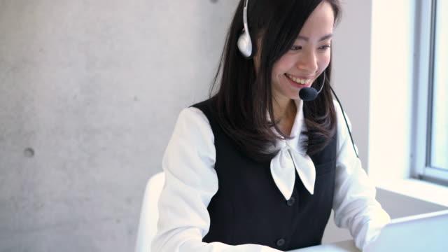 オフィスで働くオペレーターの女性 - オペレーター 日本人点の映像素材/bロール