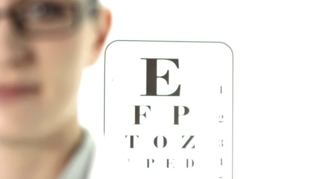 HD: Ophthalmic Medical Practitioner HD1080p: Changing focus from an eye chart in the background to a face of a female optometrist looking at camera. eye chart stock videos & royalty-free footage