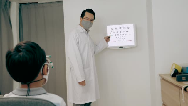 Ophthalmologist check boy's eyesight - Stock Video Southeast AsianOphthalmologist man check boy's eyesight with eye chart during pandemic situation.op eye exam stock videos & royalty-free footage