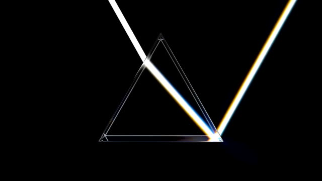 Optical glass pyramid with visible spectrum wave rays, animation. 3D rendering Optical glass pyramid with visible spectrum wave rays, animation. 3D rendering electric light stock videos & royalty-free footage
