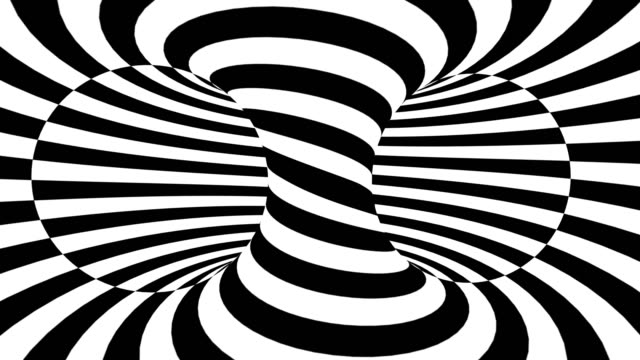 Optical illusion of torus. abstract hypnotic animated background.
