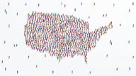 istock USA or America Map. Large group of people form to create a shape of United States of America Map. 4K Animation Video. 1293848392