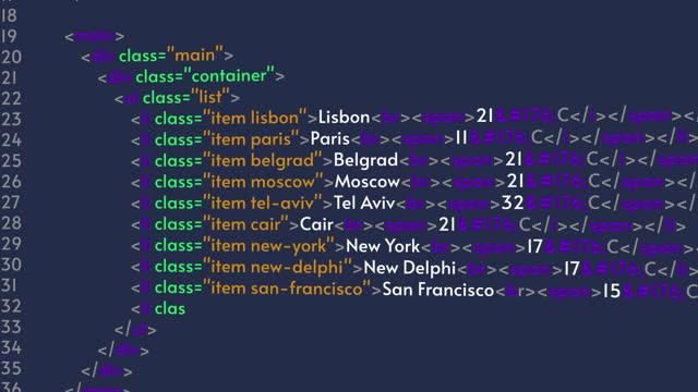 HTML or Java program code animation. Computer screen, working programmer