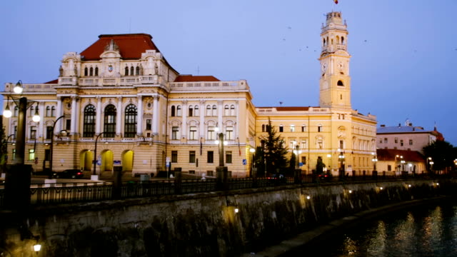 Oradea City Hall and river Crisul Repede in night video