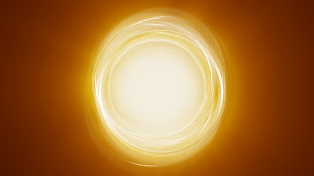 Orange abstract circle rotating rings with light rays and glow video