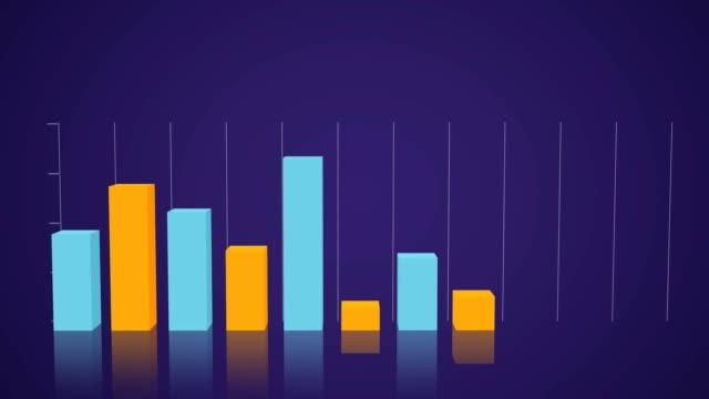 vídeos de stock, filmes e b-roll de gráfico 3d 3d alaranjado e azul do bloco - contrastes