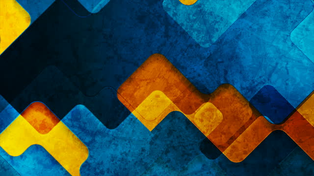 Orange and blue glossy grunge geometric shapes abstract motion background