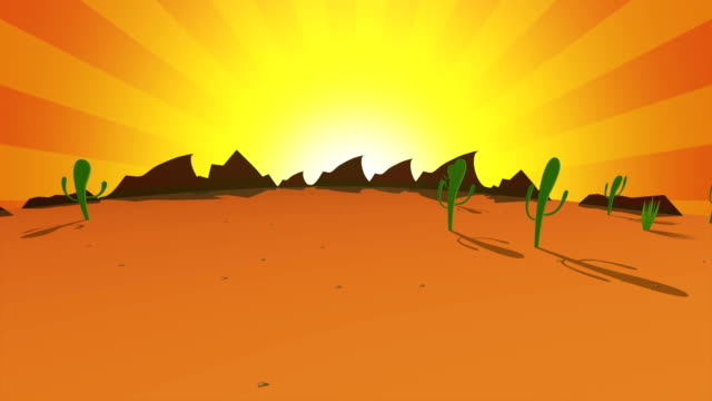 Orange Animated desert at night