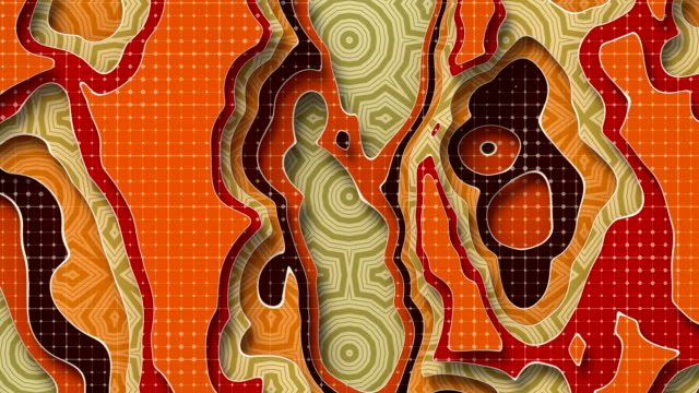 Orange colored multi layers animated paper background. Abstract papercut elegant wavy geometric motion footage. Seamless looping. 3d rendering video animation. 4K, Ultra HD resolution