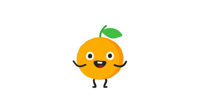Orange funny character dances and smiles. Loop animation. Alpha channel.