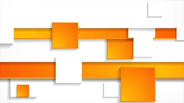 sfondo di movimento aziendale astratto grigio arancione con quadrati - arancione video stock e b–roll