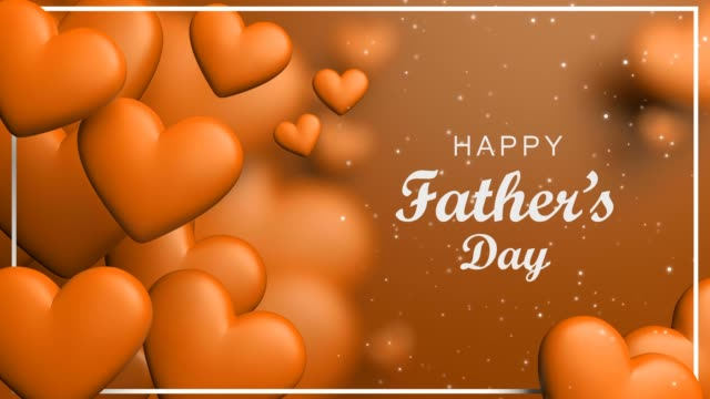 vídeos de stock, filmes e b-roll de conceito de laranja feliz dia do pai com corações dinamic - fathers day