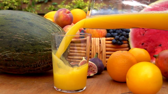Orange juice is poured into a glass video