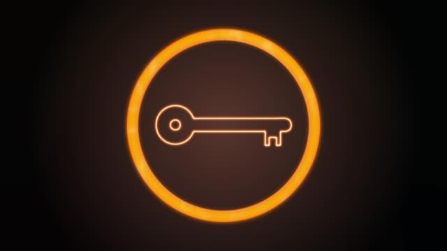 Orange Key Icon mit digitalem Code – Video