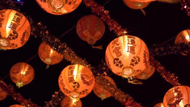 Orange lanterns hanging on ceiling. for celebration. Chinese new year.
