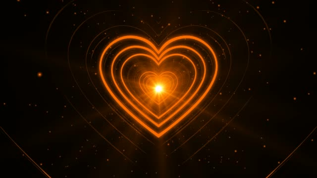 Orange Lovely Looping Abstract Heart Shape Endless