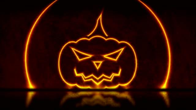 Orange neon Halloween pumpkin on grunge wall background